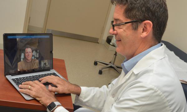 Doctor conducting virtual visit