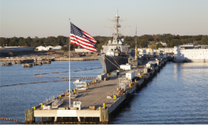 Navy Base with American Flag